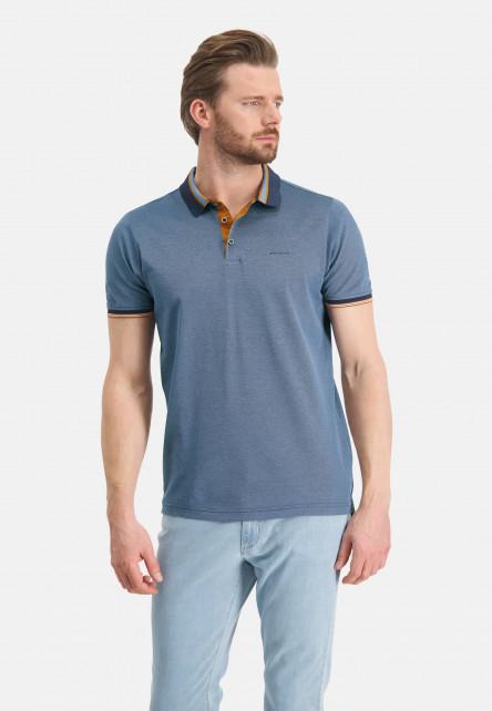 Polo-piqué-en-coton-mercerisé---blue-foncé/gris-bleu