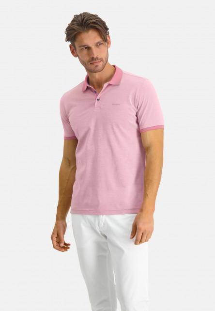 Polo-en-coton-mercerisé---rose/blanc