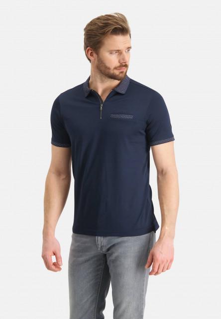 Polo-à-poche-passepoilée---blue-foncé-uni