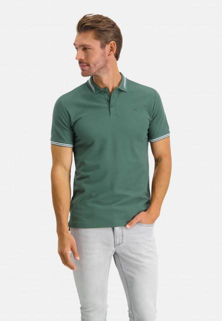 Polo-à-regular-fit-et-logo-sur-la-poitrine---vert-foncé-monochrome