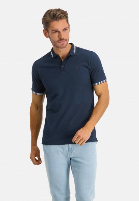 Polo-à-regular-fit-et-logo-sur-la-poitrine---blue-foncé-uni