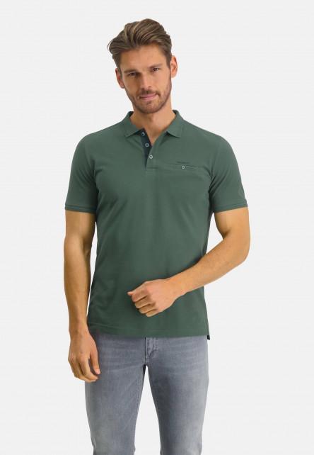 Polo-piqué-en-coton-Pima---vert-foncé-monochrome