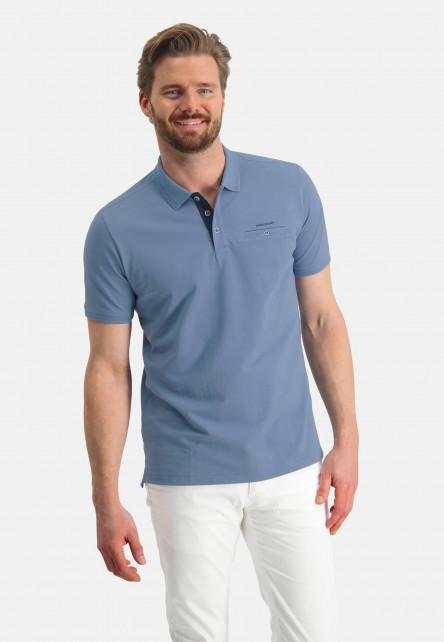 Polo-piqué-en-coton-Pima---gris-bleu-uni