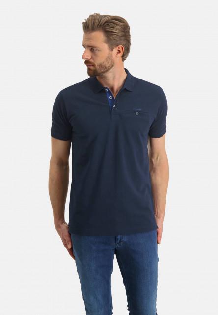 Polo-piqué-en-coton-Pima---blue-foncé-uni