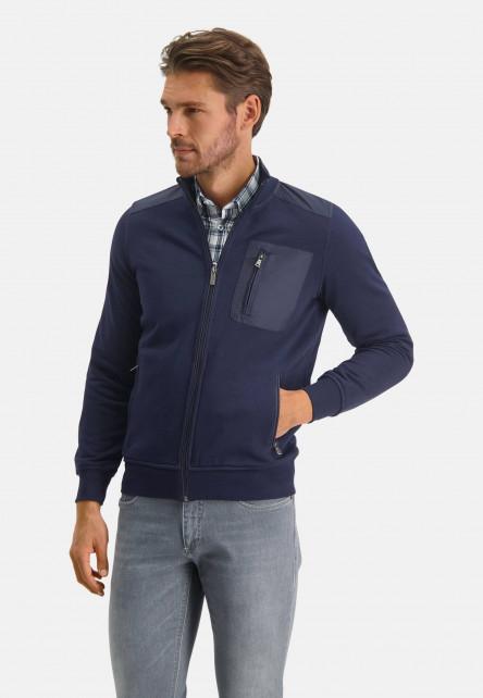 Cardigan-sweat-à-détails-nylon---blue-foncé-uni