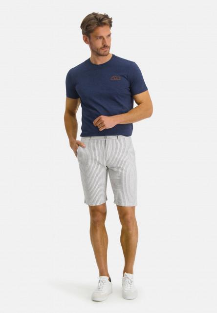 Bermuda-à-rayures-et-regular-fit---cobalt/blanc