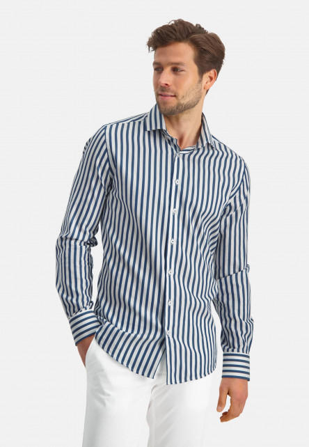 Modern-Classics-chemise-à-rayures---cobalt/blanc