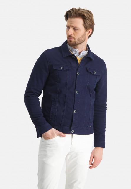 Manteau-court-en-coton-stretch---blue-foncé-uni