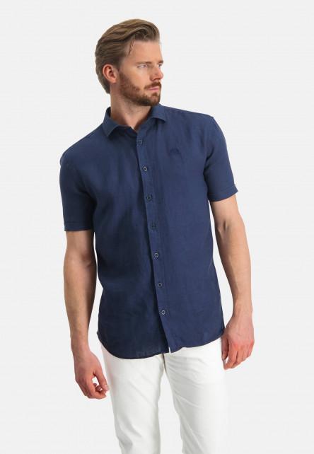 Linnen-overhemd-met-korte-mouw