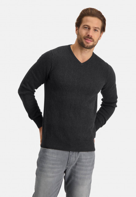 Pull-col-V-uni-tricot-grossier