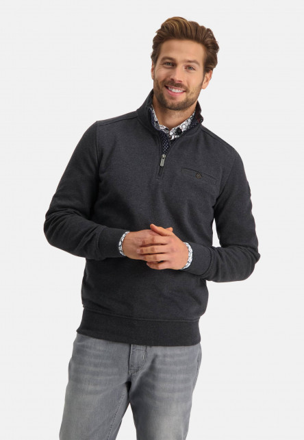 Sweat-shirt-col-zippé-uni