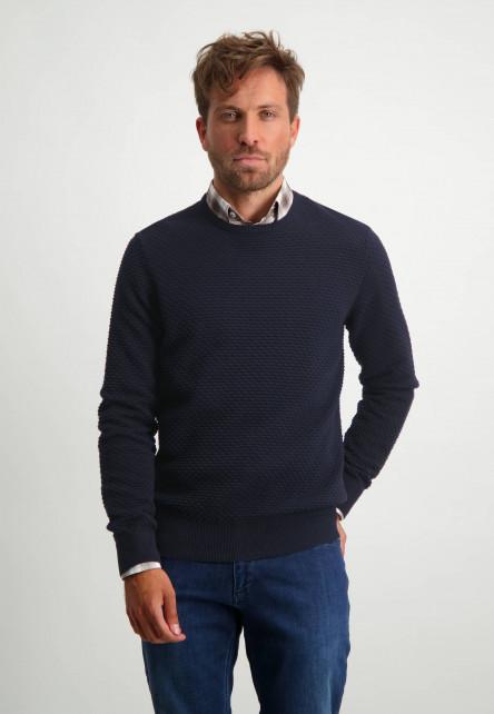 R-hals-trui-van-100%-katoen---donkerblauw-uni