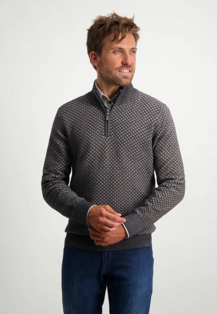 Fijngebreide-trui-met-sportzip---sepia/donkerblauw