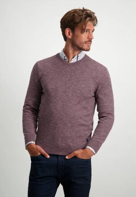V-hals-trui-van-100%-katoen---donkerblauw/sepia
