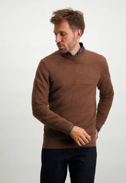Katoenen-trui-met-een-structuur-mix-patroon---donkerblauw/brique