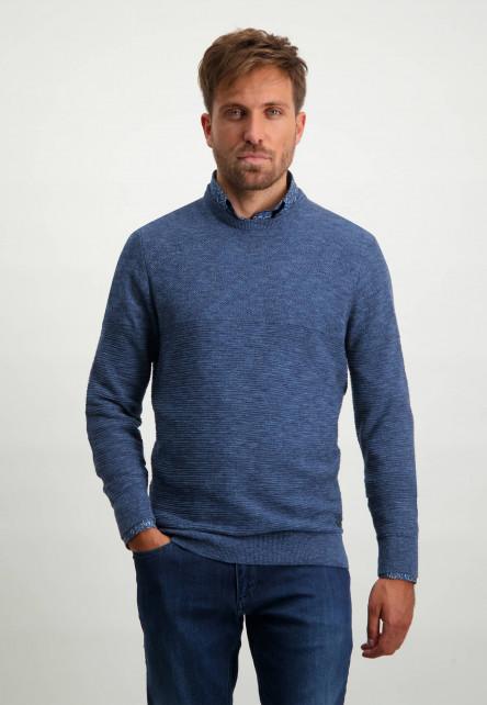 Katoenen-trui-met-een-structuur-mix-patroon---donkerblauw/kobalt