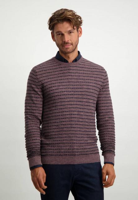 Mouliné-trui-met-strepen---oud-roze/donkerblauw