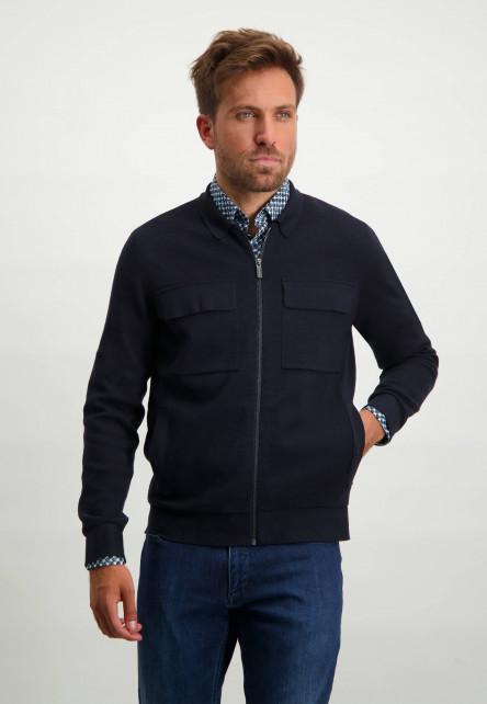 Vest-van-een-katoen-mix-met-steekzakken---donkerblauw-uni