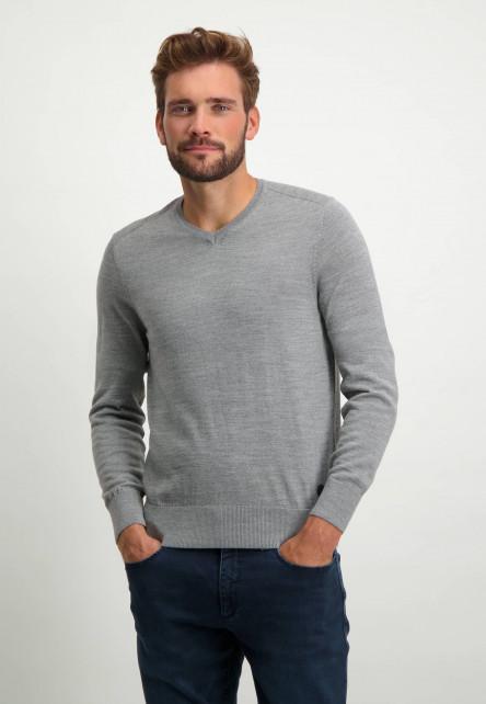 Pull-col-V-uni---gris-argenté-monochrome