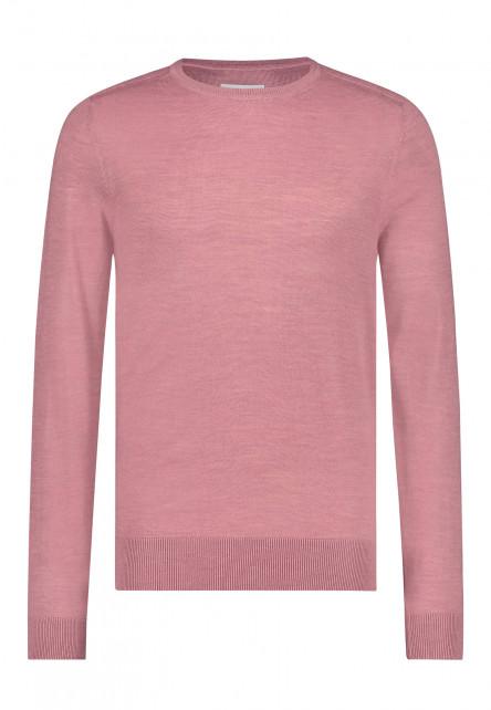 Fijngebreide-trui-van-een-wol-mix---oud-roze-uni