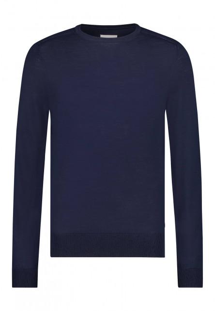 Fijngebreide-trui-van-een-wol-mix---donkerblauw-uni