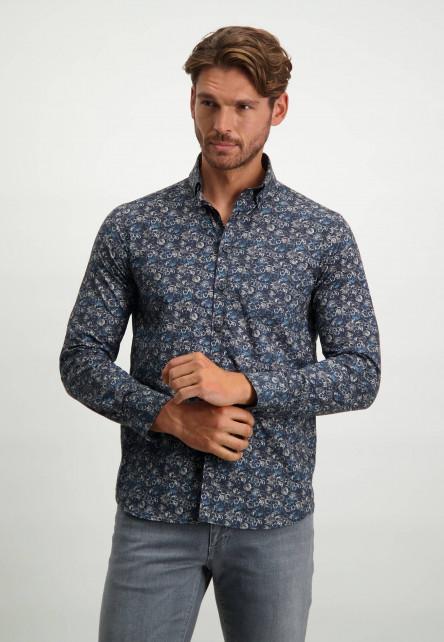Overhemd-van-stretch-katoen---donkerblauw/zilvergrijs