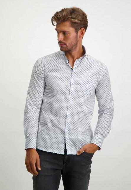 Chemise-à-imprimé---gris-argenté/bleu-claire