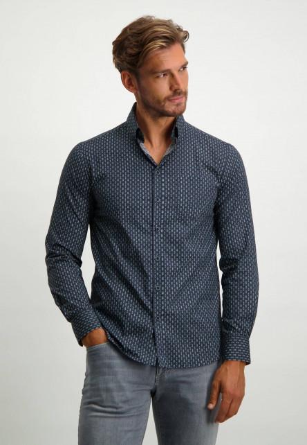Katoenen-overhemd-met-button-down---donkerblauw/zilvergrijs