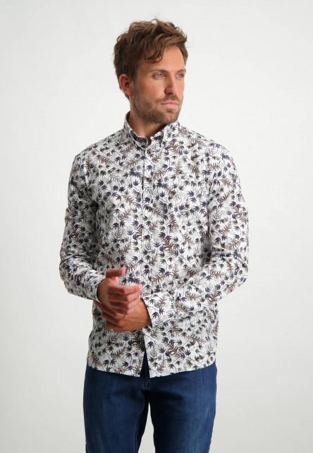Button-down-overhemd-met-botanische-print---cognac/donkerblauw