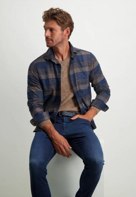 Chemise-à-carreaux---blue-foncé/grège