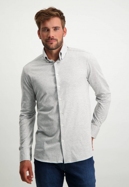 Katoenen-overhemd-met-button-down---zilvergrijs-uni