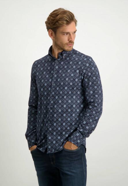 Katoenen-overhemd-met-all-over-print---donkerblauw/kobalt