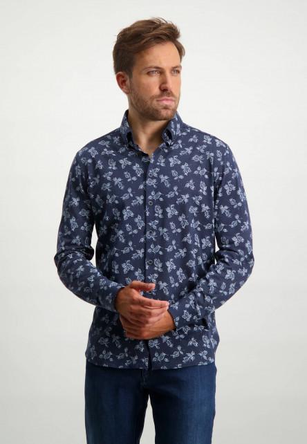 Button-down-overhemd-van-100%-katoen---donkerblauw/kobalt