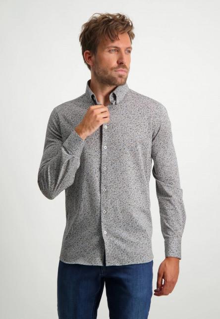 Chemise-à-imprimé---gris-argenté/blue-foncé