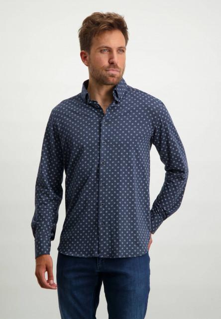 Katoenen-overhemd-met-all-overprint---donkerblauw/wit