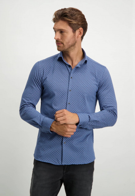 Katoenen-overhemd-met-button-down---donkerblauw/wit