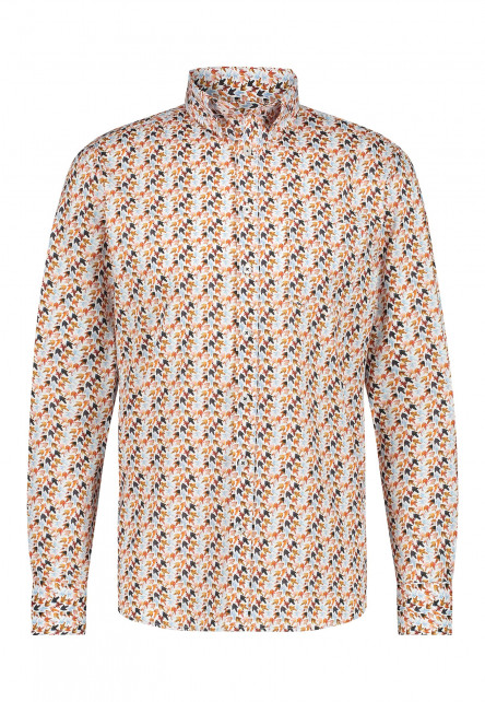 Poplin-overhemd-met-button-down-kraag---brique/mango