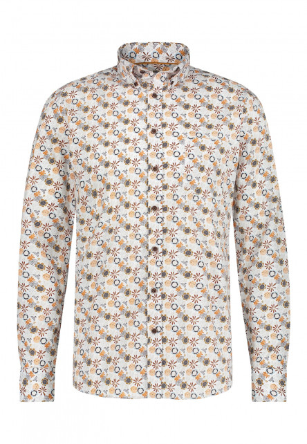 Katoenen-overhemd-met-borstzak---cognac/mango