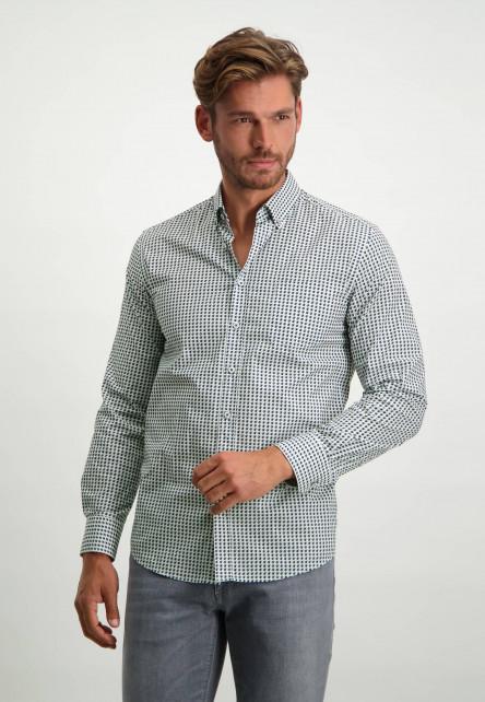 Stretch-overhemd-van-biologisch-katoen---donkerblauw/zilvergrijs