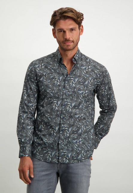 Poplin-overhemd-van-biologisch-katoen---donkerblauw/zilvergrijs