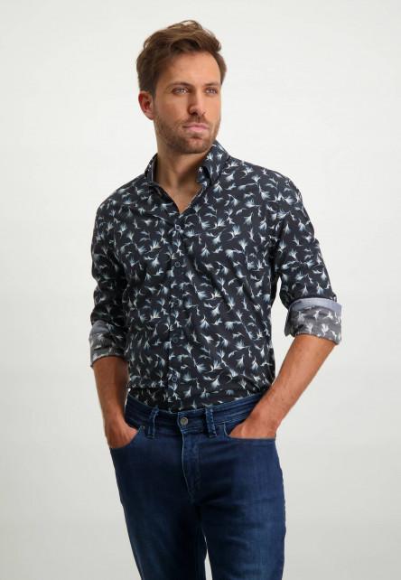 Poplin-overhemd-van-biologisch-katoen---donkerblauw/lichtblauw
