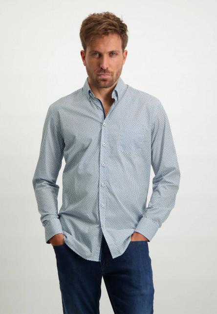 Print-overhemd-van-biologisch-katoen---kobalt/wit
