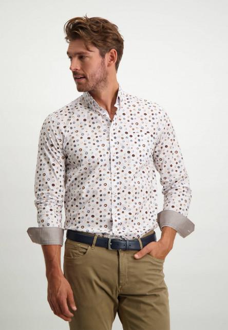 Button-down-overhemd-van-biologisch-katoen---donkerblauw/cognac