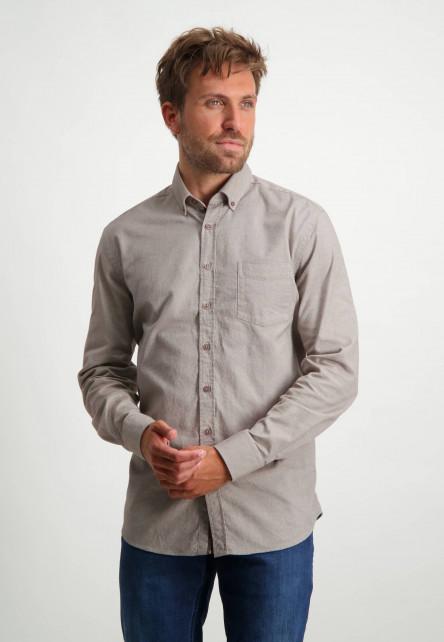 Flanellen-overhemd-met-borstzak---sepia/wit