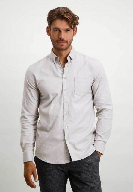 Flanellen-overhemd-met-borstzak---zilvergrijs/wit