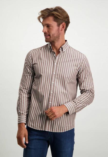 Overhemd-met-strepen-van-biologisch-katoen---sepia/wit