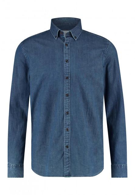 Indigo-overhemd-met-lange-mouwen---kobalt-uni