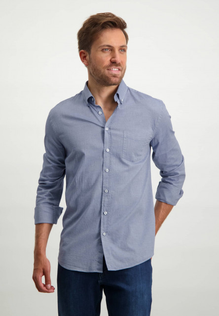 Oxford-overhemd-van-stretch-katoen---kobalt/wit