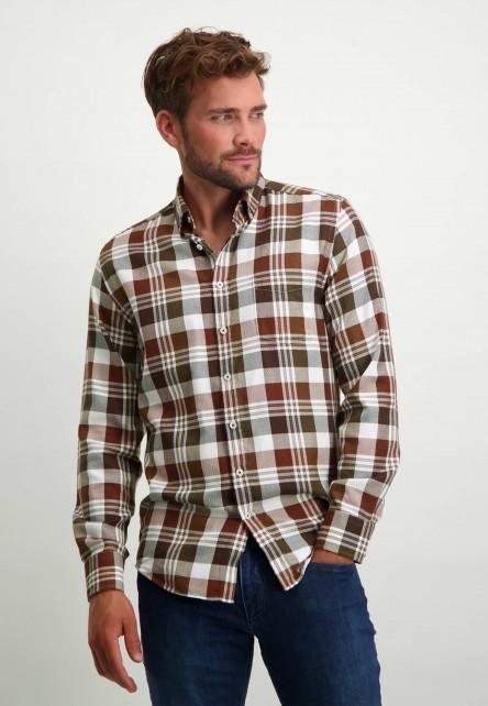 Katoenen-overhemd-met-ruitpatroon---brique/donkerblauw