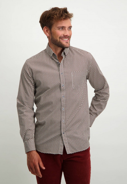 Overhemd-met-print-van-stretch-katoen---brique/donkerblauw
